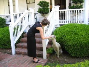 PROM 11, J petting concrete dog