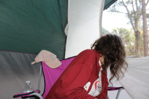Sitting in the tent waiting out the daily transition of Granddad's