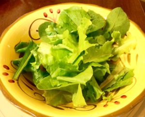Salad from home grown lettuce.