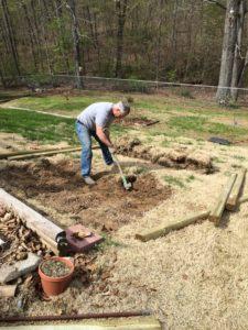 Digging up grass
