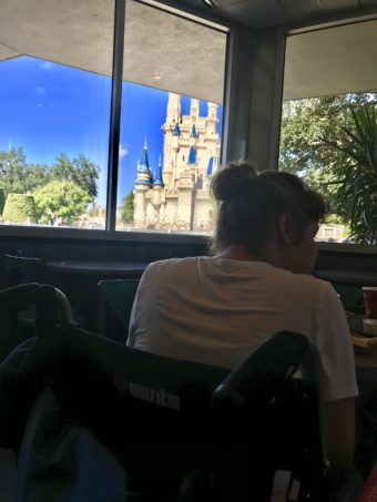 Lunch inside starlight cafe with view of Cinderella's Castle