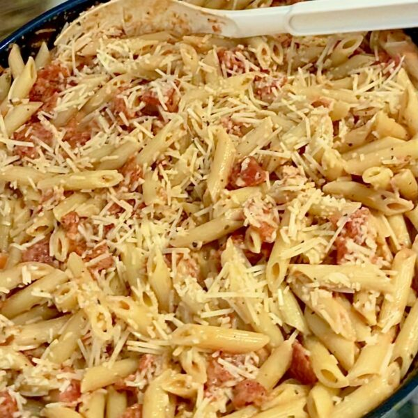 Picture of Dish of Tomato Cream Pasta which is made of Penne Pasta with Diced Tomatoes and Shredded Parmesan Cheese